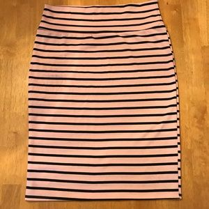 LuLaRoe Pink and Black Stripped Cassie Skirt